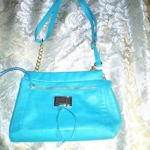 Nicole Miller  small teal purse with gold chained